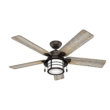Hunter 59273 Key Biscayne 54  Ceiling Fan with Light, Large, Onyx Bengal