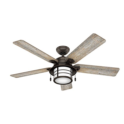 ace ceiling fans Hunter Key Biscayne Indoor / Outdoor Ceiling Fan with LED Light and Pull Chain Control