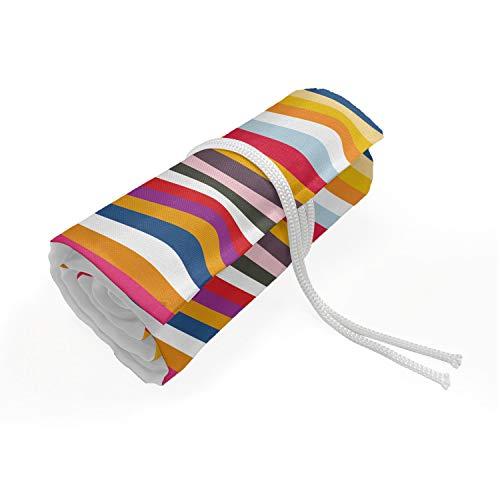 ABAKUHAUS Colorato Trousse à Crayon Enroulable, Onde in toni differenti, Organisateur de Crayon Durable & Portatif, 48 Trous, Multicolore