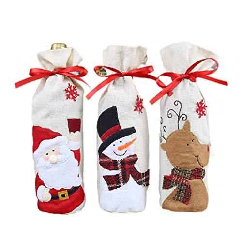 Botella de vino Bolsas Botella de vino de Navidad Cubierta - 3pcs con lazo de vino del estilo del bolso hecho a mano de Santa muñeco de nieve Elk vino tinto bolsa de regalo Decoraciones de Navidad Dec