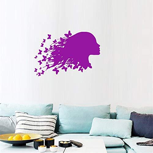 Chambre d'enfant fille femme personnalité penser fille autocollant mural volant papillon cheveux créatif vinyle autocollant62 * 43 cm
