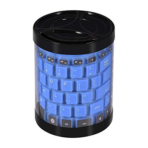 Tastatur Flexibel Wasserfest USB 87 Schlüssel Drahtlose Bluetooth Tastatur Silikon Faltbare Tastaturtasche wasserdichte Tastatur Geeignet für Laptop/Tablet/Smartphone