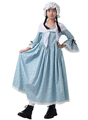 GRACEART Colonial Girls Dress Prairie Pioneer Costume 100% Cotton (Light Blue,Size-8)