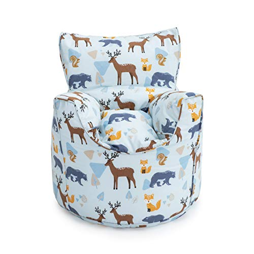 Ready Steady Bed Wildwood Kids Toddler Armchair   Comfy Children Furniture   Soft Child Safe Seat Playroom Sofa   Ergonomically Designed Bean Bag Chair