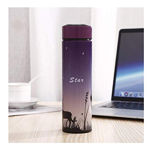 Botella termo de 450 ml de acero inoxidable botella de agua frasco de vacío termo viaje café té termocopa estrella regalo taza-5