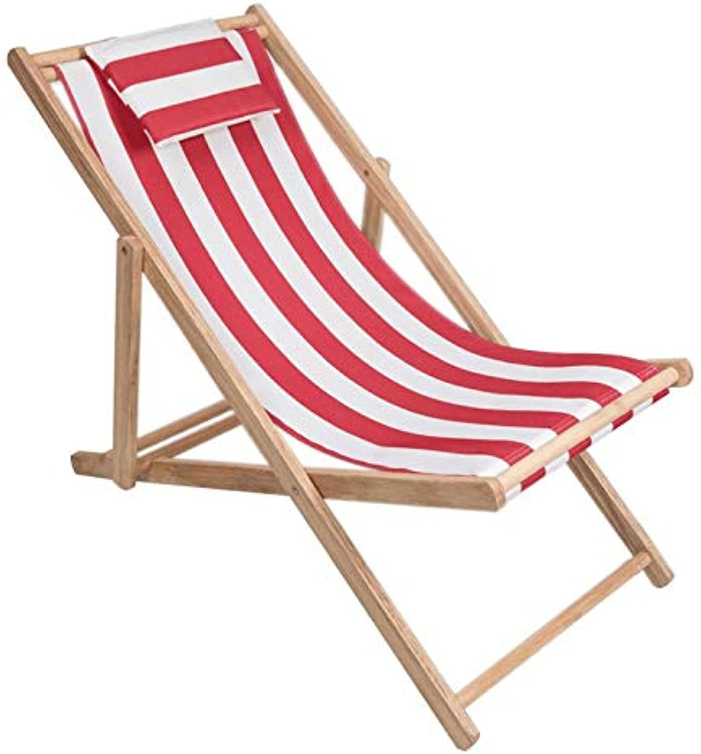 Wooden Lounge Chair Household Indoor and Outdoor Terrace Lazy Chair Outdoor Deck Lounge Chair (color   Red)