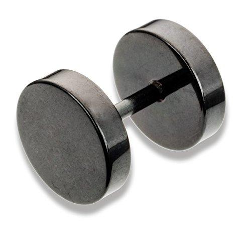 Piercing-Plug falso para la oreja de acero quirúrgico anodizado y alhajado negro con disco de 6mm de diámetro