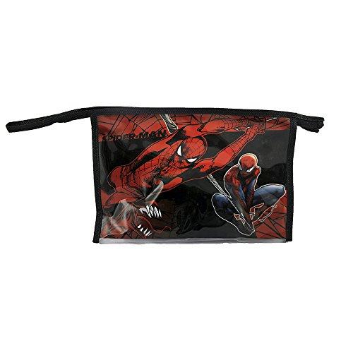 Diakakis 0500813 Spiderman Cadeau-Set de Voyage-Coffret de Bain Format Trousse de Toilette Complète Noir-5pcs, Plastique, Rouge, 23 x 8 x 15 cm
