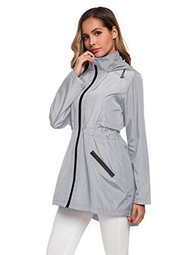 ZHENWEI Women S Rain Jacket Travel Raincoat Women Packable Hooded Windbreaker Grey S