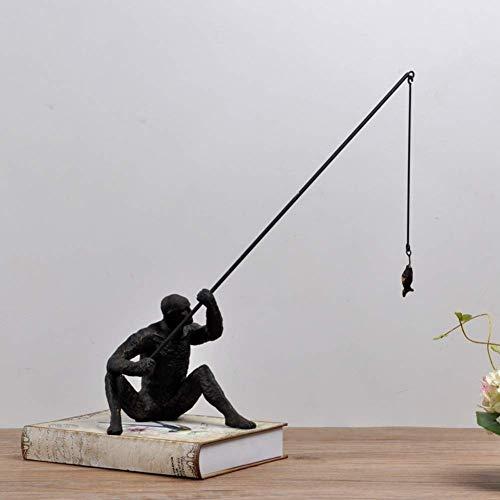 WLVG Escultura de Hierro de Arte, estatuas de Personas abstractas Adornos de Arte Moderno Artesanía Objeto Decorativo para decoración del hogar, Oficina, Mesa y Escritorio-a 36x15x44cm (14x6x17in
