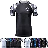 Gold BJJ Jiu Jitsu Rashguard - Camo Short Sleeve Rash Guard Compression Shirt for No-Gi, Gi, & MMA (Black Camo, M)
