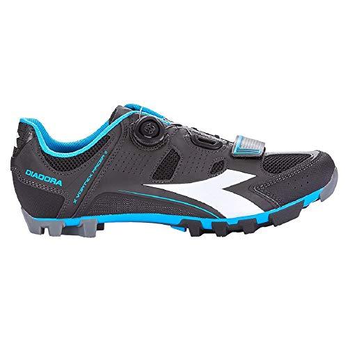 Diadora X Vortex Racer II, Zapatillas de Ciclismo de montaña. Unisex Adulto, Multicolor Black White Blue Fluo 5193, 45 EU