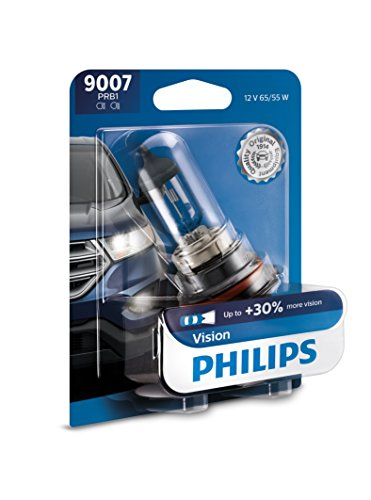 Philips 9007 Vision Upgrade Headlight Bulb with up to 30% More Vision, 1 Pack