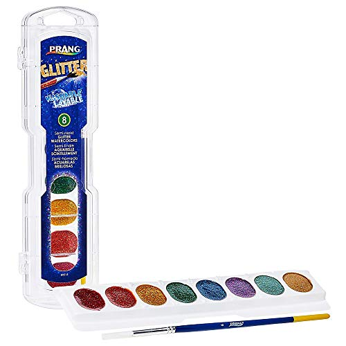 PRANG Washable Watercolor Paint Set, Assorted Glitter Colors, eight Colors (X80515)