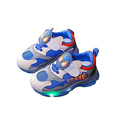 Inrrari Spidervamp Chaussures Enfants Sport for garçon Cartoon Doux Bas Tout-Petit bébé Lumineux LED Lampe Blink Enfants Sneaker Fille 26 Respirant, Anti-dérapant, Orteils Protéger