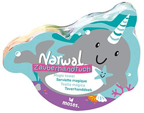 Moses. 30529 Narwal Zauberhandtuch | Handtuch mit Überraschungseffekt | Für den Kindergeburtstag, bunt