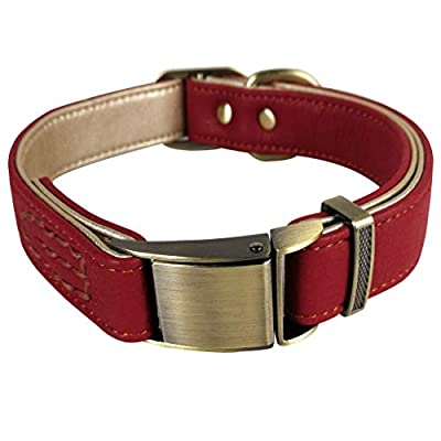 Tellpet Leather Dog Collar with Quick Release Buckle and Soft Gold Leather Padded, Red, Large