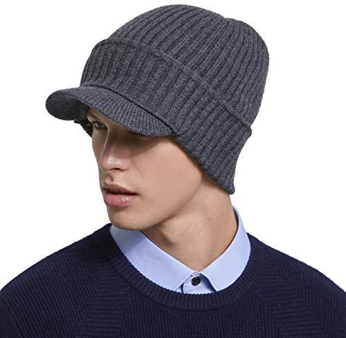 RIONA Berretto Uomo in Maglia per Inverno Caldo Cappello Beanie Berretto Cappello Invernale con Visiera da Uomo 100% Lana Merino
