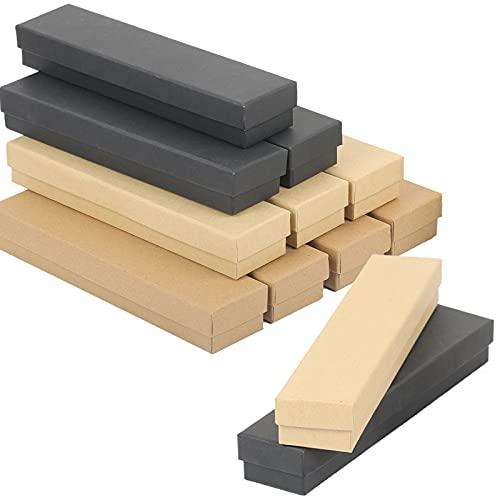 SEELOK 12pcs Juego de Joyería de Cartón Cajas para Joyas Rectángulo Joyero de Papel Kraft Estuche Joyero Pequeño para Organizar de Collares Pendientes Envases de Regalo(21 * 4.5 * 3cm)