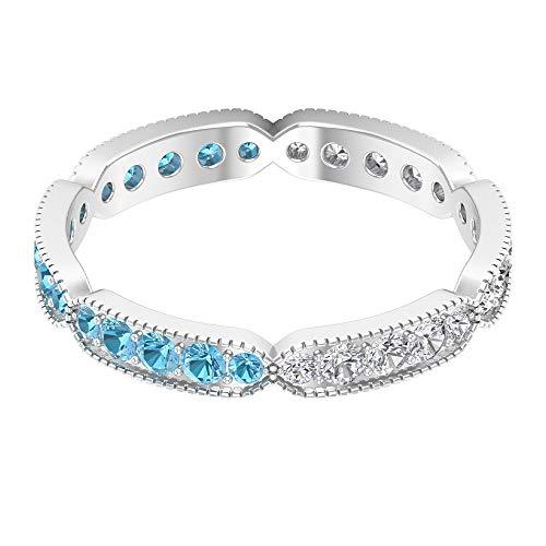 Banda de aguamarina de 0,45 CT creada en laboratorio, banda de diamante HI-SI de 0,36 quilates, anillo de eternidad completa, alianza de boda de oro milgrain (calidad AAAA), 14K Oro blanco, Size:EU 46