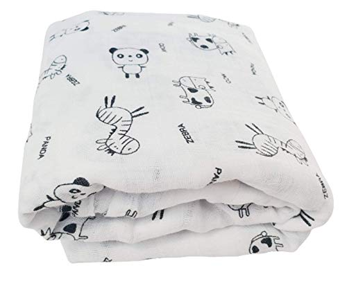 Muslin Swaddle Blankets - Baby Receiving Blanket Unisex 100% Cotton Soft Silky Breathable Nursery Swaddle Gender Neutral Wraps for Baby Boys Girls Set - Large 47 x 47 Inches (Zebra Panda Cow)