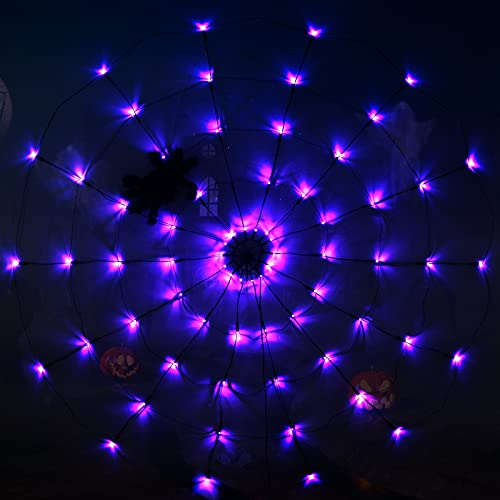 AnMeng Halloween Spider Web Decoration Light with Black Spider, Purple 3.93FT 70 LED Spider Web Lights-Battery Operated, Suitable for Party, Yard, Indoor&Outdoor Halloween Decoration