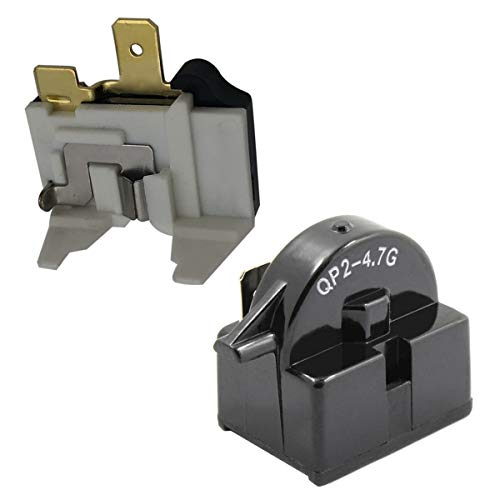 iRomehony 1 PCS QP2-4.7 Start Relay 1 Pin with Refrigerator Overload Protector Fit For LG Kenmore Vissani Danby Compressor Replaces QP2-4.7 4.7 Ohm PTC Starter 6750C-0005P