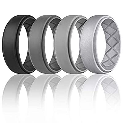 NC HOME Silicone Wedding Ring for Men 7 Rings // 4 Rings // 1 Ring Step Edge Sleek Design Size 7 8 9 10 11 12 13 Breathable Silicone Rubber Wedding Bands for Athletes Crossfit Workout