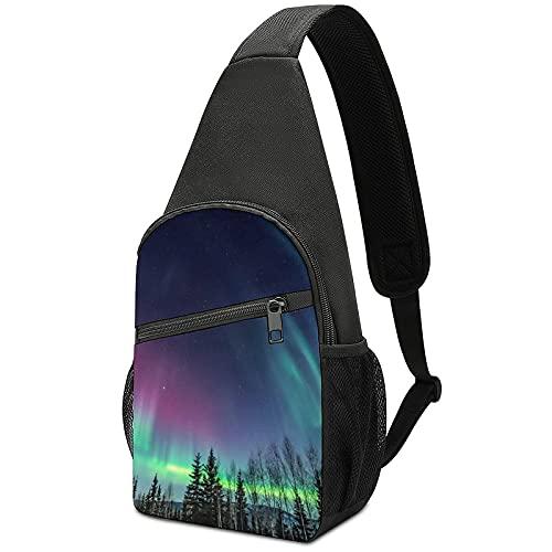 Northern Lights Crossbody Backpack Shoulder Bag , Lightweight One Strap Backpack Sling Bag Backpack for Hiking Walking Biking Travel Cycling