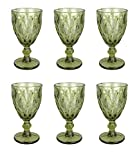 Vintage 6 Teile Set Rombus König Weinglas Glas Gläser Weingläser Wasserglas Longdrinkglas (Weinglas grün)