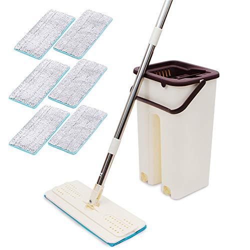 BOLANA - Kit de herramientas de limpieza para fregona con mango de acero inoxidable y rotación de 360 grados para el hogar, fregona plana para limpiar suelos y madera dura, Blanco, With 6 pieces of cloth