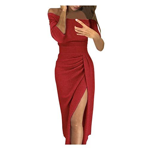 iHENGH Damen Frühling Sommer Rock Bequem Lässig Mode Kleider Frauen Röcke beiläufiges festes Design knöpft halbes Hülsenkleid-Sommerkleid(Rot-1, XL)