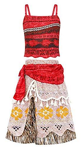 Venlen Boom Moana Kostuum Fancy Dress up Outfit voor Meisjes Kids Halloween Verjaardag Vakantie Cosplay Kleding Set Kinderen Mouwloze Kleding