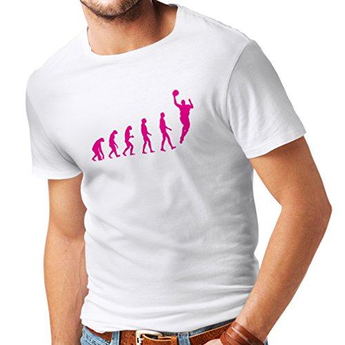Camisetas Hombre evolución de Baloncesto - Canasta de la Calle, me Encanta Este Juego, Gran Fan de Regalo (XXXXX-Large Blanco Magenta)