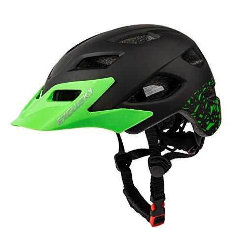 Exclusky Casco da Bicicleta Para Niños Infantil Ciclismo Casco Ciclismo de Seguridad Ajustable 50-57cm (edades 5-13) (negro)