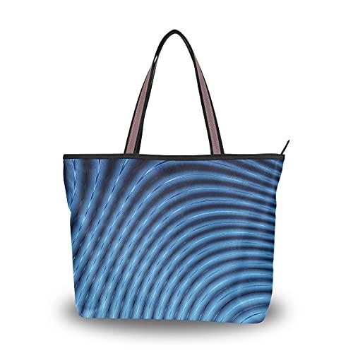 Bolsos de mano personalizados para mujeres abstractas 3d líneas azules licuadora bolso monedero grandes y bonitos bolsos de mano con cremallera para mujer dama niñas adulto