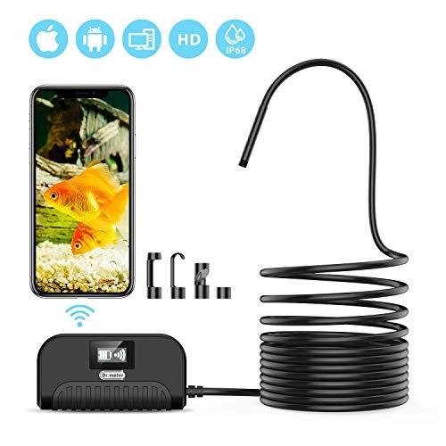Dr.meter Endoskopkamera, WiFi Endoskop 2.0 Megapixel HD IP68 wasserdichte Inspektionskamera mit semi-Rigid 3.5M Kabel und 6 LEDs WiFi Borescope für iOS und Android Smartphone, Samsung, iPad, Tablet