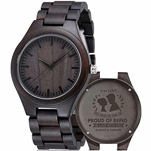 iYoukesA Relojes de Madera con Texto Grabado Personalizado para Hombres Reloj de Pulsera con Correa de Cuero de Cuarzo japonés Informal de Nogal y ébano Personalizado Día del Padre Cumpleaños