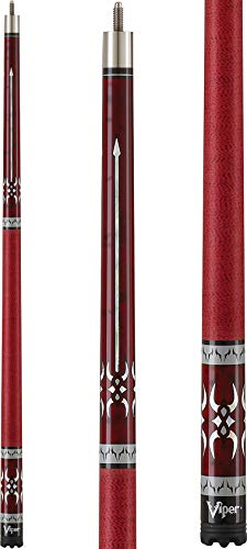 Viper Sinister 58' 2-Piece Billiard/Pool Cue, Burgundy with Pearlized Inlay, 18 Ounce