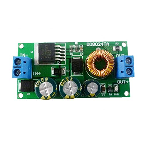 Paso módulo de fuente de tabla hacia abajo alimentación de alto voltaje 10-80V a 6V Buck Converter con terminales para batería de coche azul, Componentes