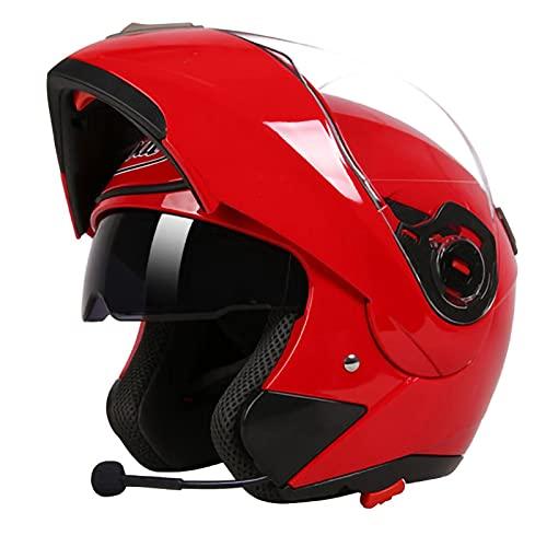 SJAPEX Cascos Modulares Casco Integral de Motocicleta de Doble Lente,Casco Modular Plegable Certificación ECE,Doble Anti Niebla Visera para Mujer Hombre Adultos. B,XL=57~59cm
