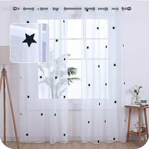 UMI Amazon Brand Cortinas Salon Translucidas de Dibujos Lluvia de Meteoros con Ollaos 2 Piezas 140x260cm Azul Marino