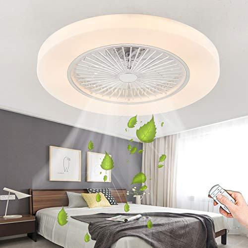 LED Ventiladores De Techo Con Iluminación Moderno 72W Regulable Control Remoto Ventilador Lámpara De Techo Silencioso Fan Luz De Techo Dormitorio Sala De Estar Oficina Lámpara De Ventilador (White)