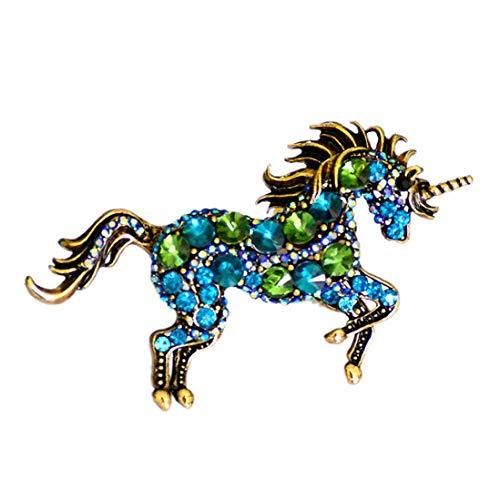 Broche de la Vendimia del Rhinestone del Unicornio Pecho Pin Accesorios para la Ropa para Las...