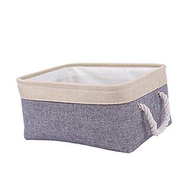 TheWarmHome Decorative Basket Rectangular Fabric Storage Bin Organizer Basket with Handles for Clothes Storage (Grey Patchwork, 13.8L9.8W6.7H)