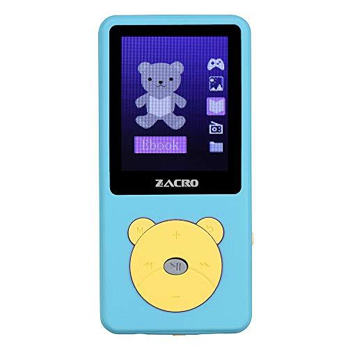 """Zacro Reproductor MP3 para Niño 8GB,Reproductor MP3 Niño Pantalla 1.8"""" LCD,Cartoon Multifuncional de Videojuegos, de Música,Vídeo Radio FM,Apto para 32GB extendido MP3 MP4 de Multimedia Niño,Azul"""