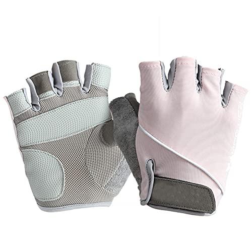 Guantes de entrenamiento sin dedos Antideslizante Medio dedo Ejercicio Gimnasio Guantes de fitness para hombres y mujeres con seda de hielo (Rosa S)