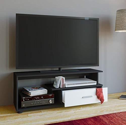VCM TV-Lowboard Rack Konsole Fernsehtisch Möbel TV Bank Tisch Holz Schrank Schwarz/Weiß 43 x 110 x 40 cm