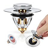 New Upgrated EditionBathroom Sink Stopper - Stainless Steel Bullet Core Push Pop Up Sink Drain Filter No Overflow Sink Drain Plug With Basket
