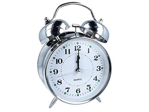 LEDLUX Sveglia Campana,Sveglia da Comodino Con Doppio Campanello,Sveglia Rumoso Classico ,Dimensione 17X12X5,5cm ,Colore Argento